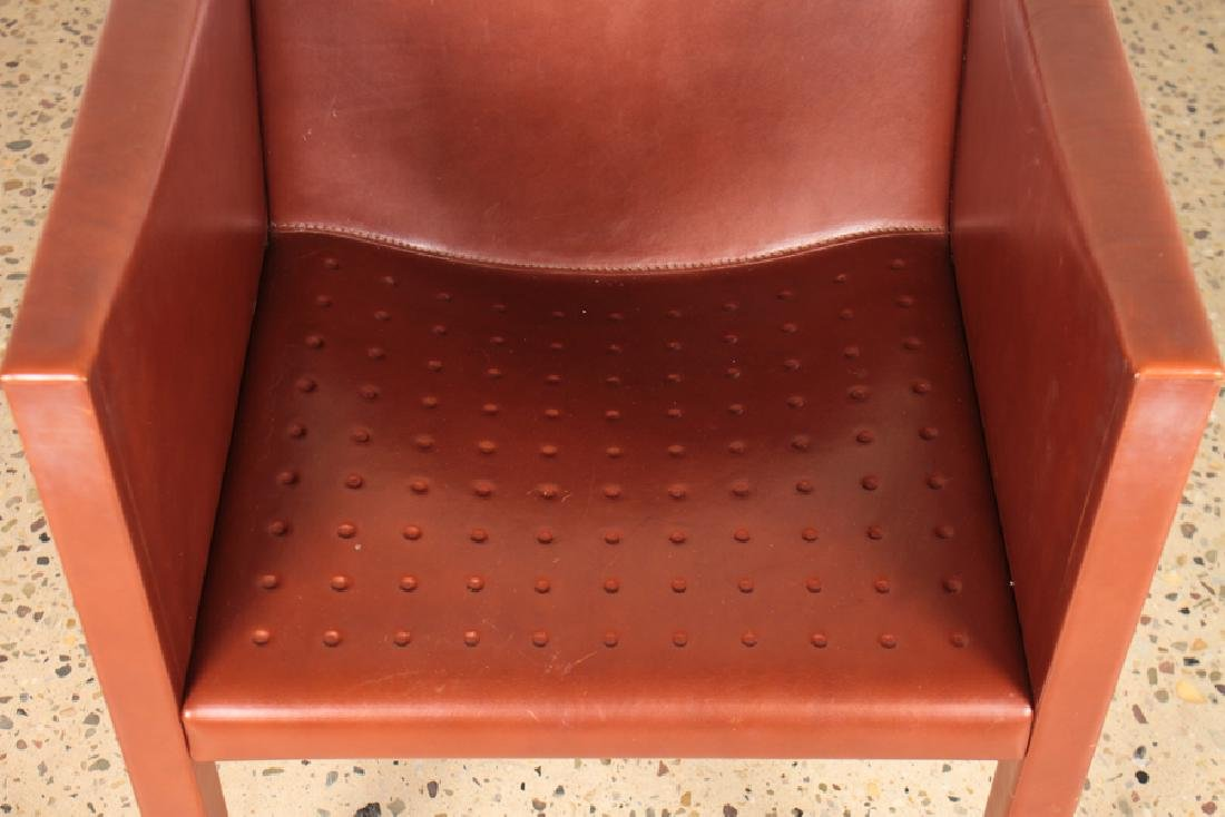 PAIR OF ITALIAN LEATHER CUBE FORM CHAIRS - 4