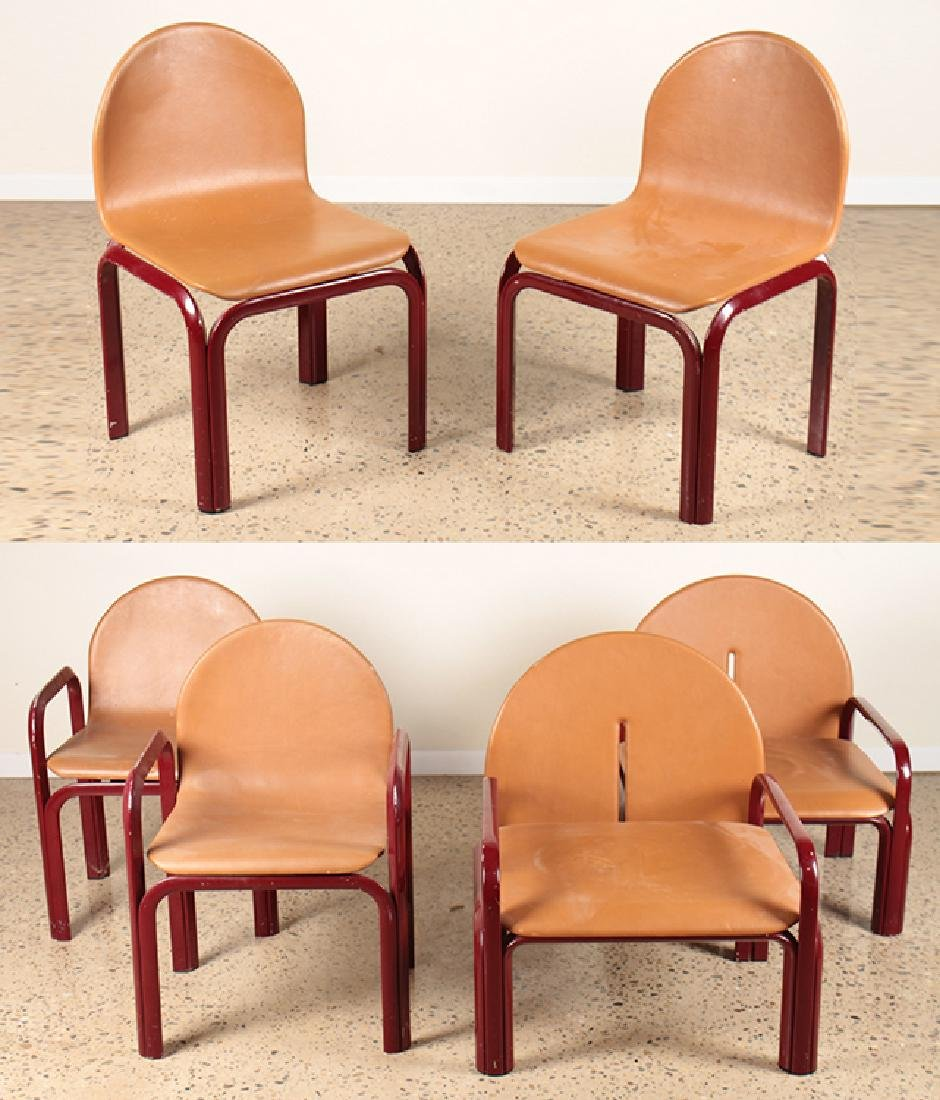 3 PAIRS OF ITALIAN CHAIRS WITH LEATHER UPHOLSTERY