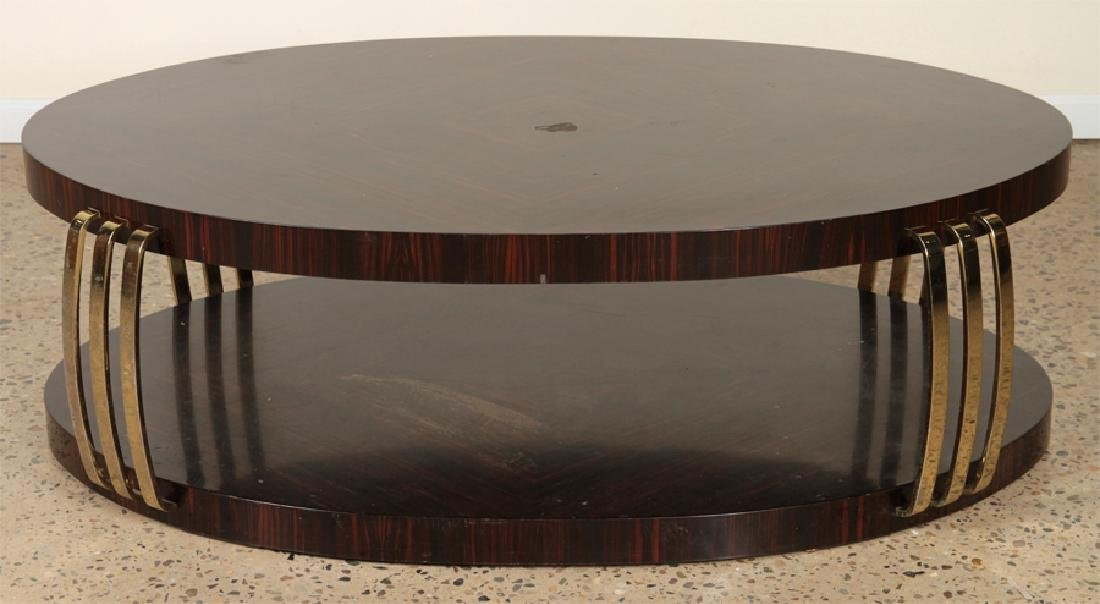 OVAL TWO TIER MACASSAR COFFEE TABLE BRASS ACCENTS