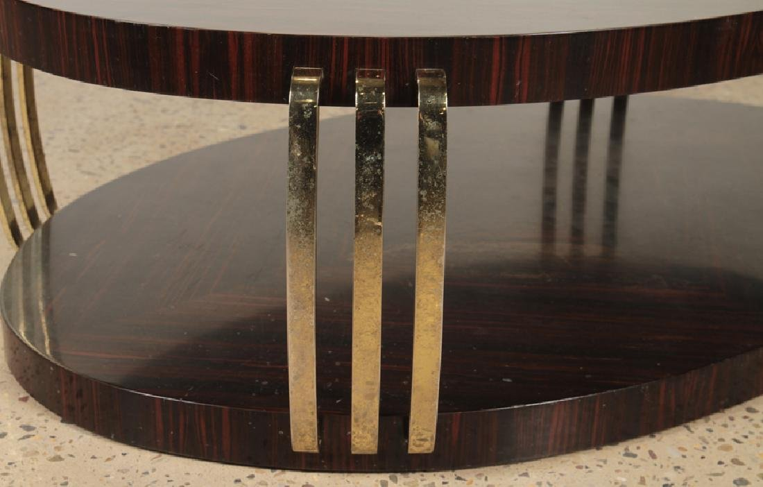 OVAL TWO TIER MACASSAR COFFEE TABLE BRASS ACCENTS - 4