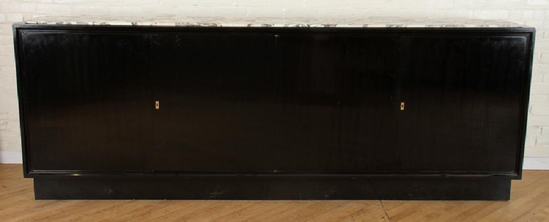 EBONIZED SIDEBOARD WITH WHITE MARBLE TOP C.1965