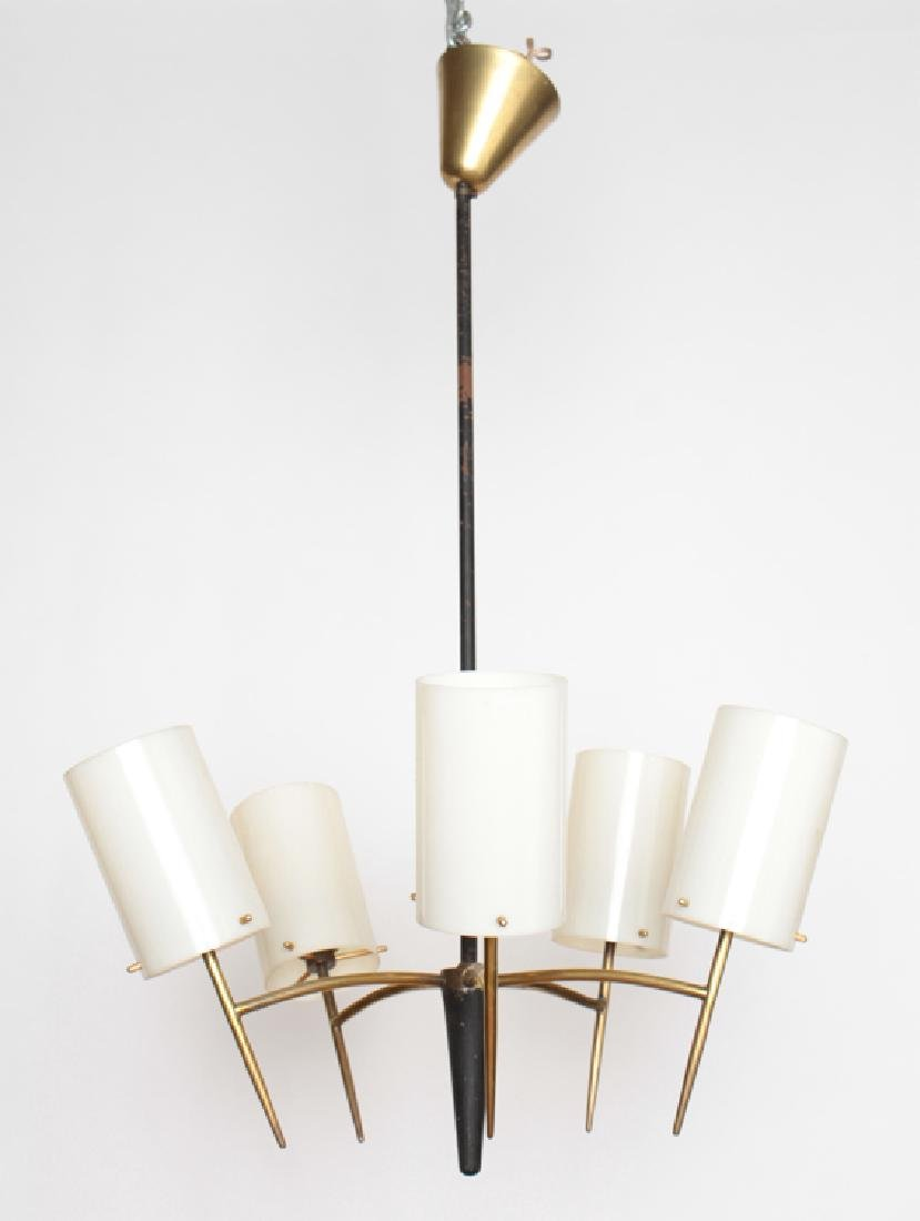 ITALIAN 5 ARM BRASS AND IRON CHANDELIER C.1950
