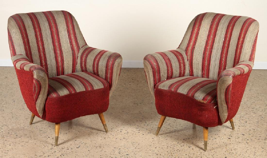 PAIR ITALIAN UPHOLSTERED ARM CHAIRS CIRCA 1960