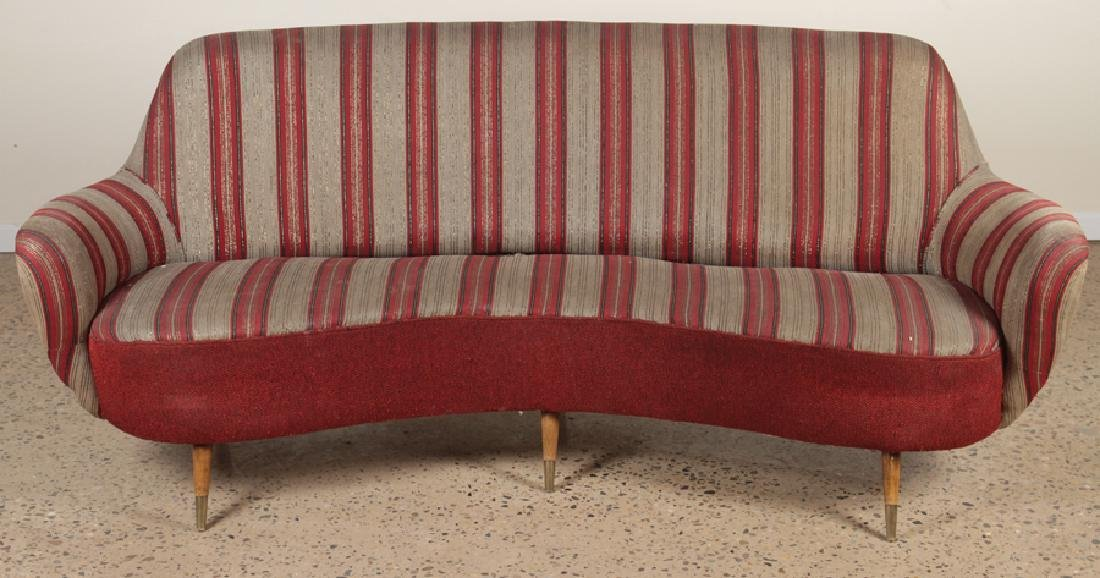 MID CENTURY MODERN UPHOLSTERED CURVED BACK SOFA