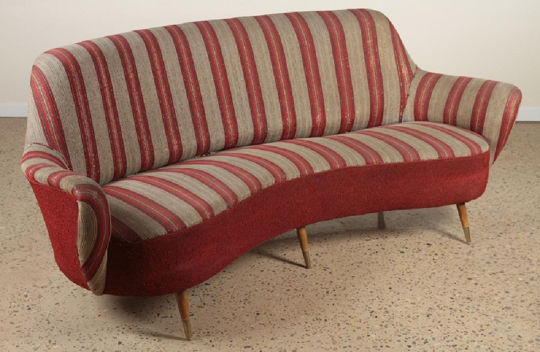 MID CENTURY MODERN UPHOLSTERED CURVED BACK SOFA - 2