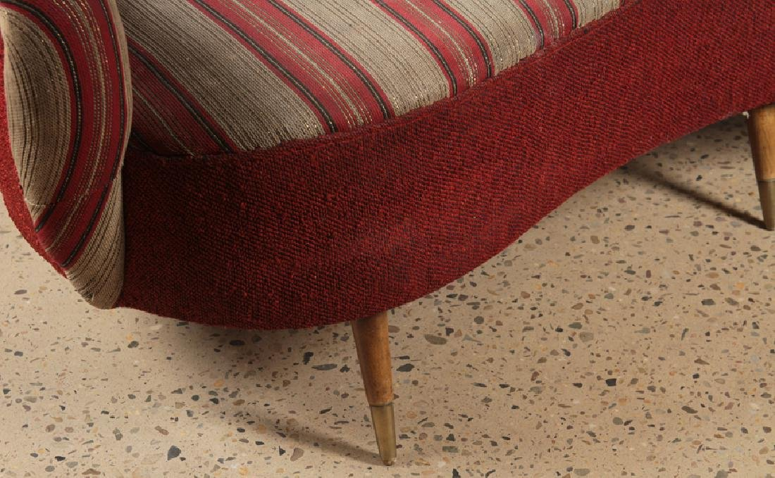 MID CENTURY MODERN UPHOLSTERED CURVED BACK SOFA - 4