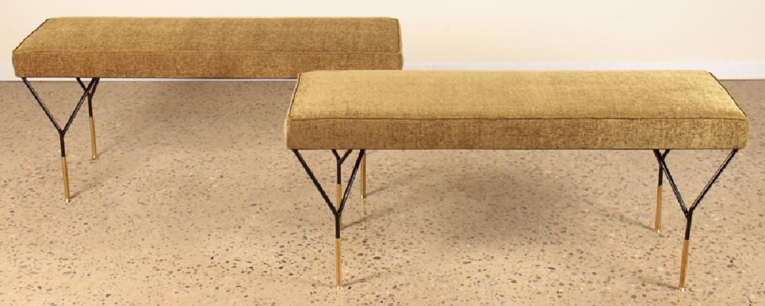 PAIR ITALIAN BRONZE AND IRON UPHOLSTERED BENCHES