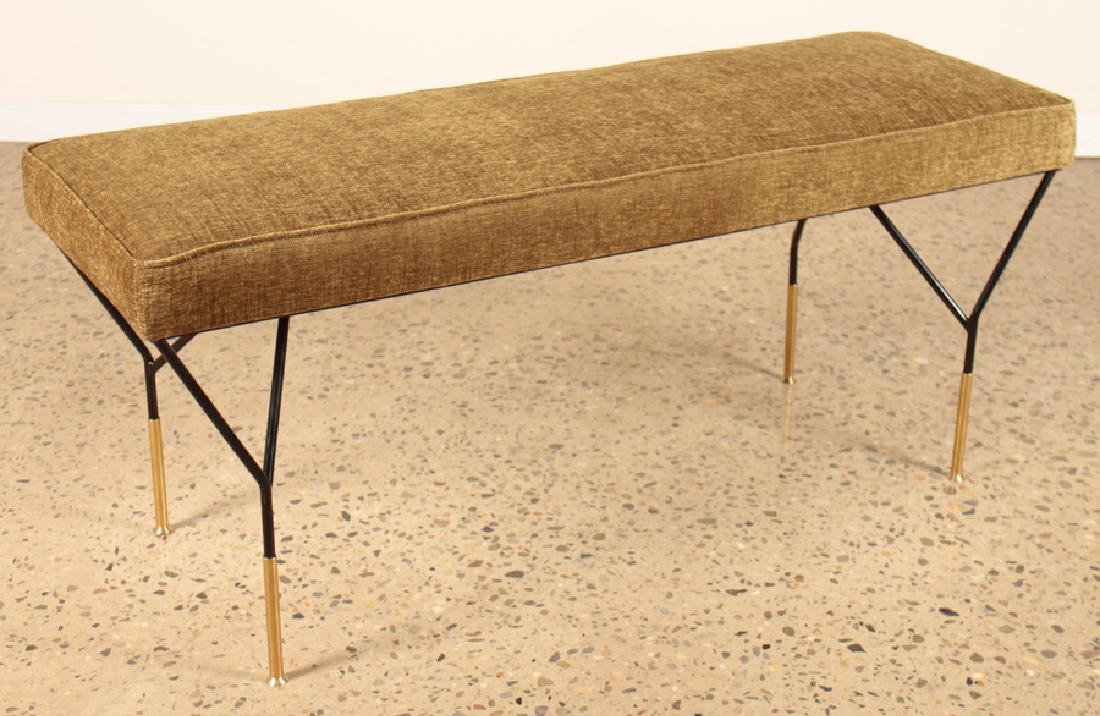 PAIR ITALIAN BRONZE AND IRON UPHOLSTERED BENCHES - 2