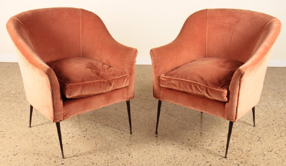 PAIR ITALIAN CONTINUOUS ARM LOUNGE CHAIRS C.1950