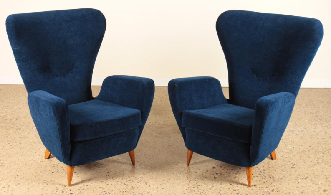 PAIR PAOLO BUFFA UPHOLSTERED LOUNGE CHIARS C.1950