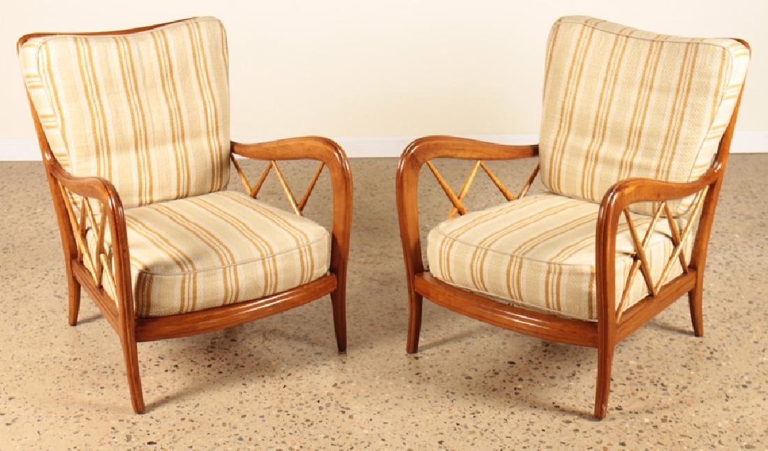 PAIR ITALIAN CHAIRS MAPLE FRAME BY PAOLO BUFFA