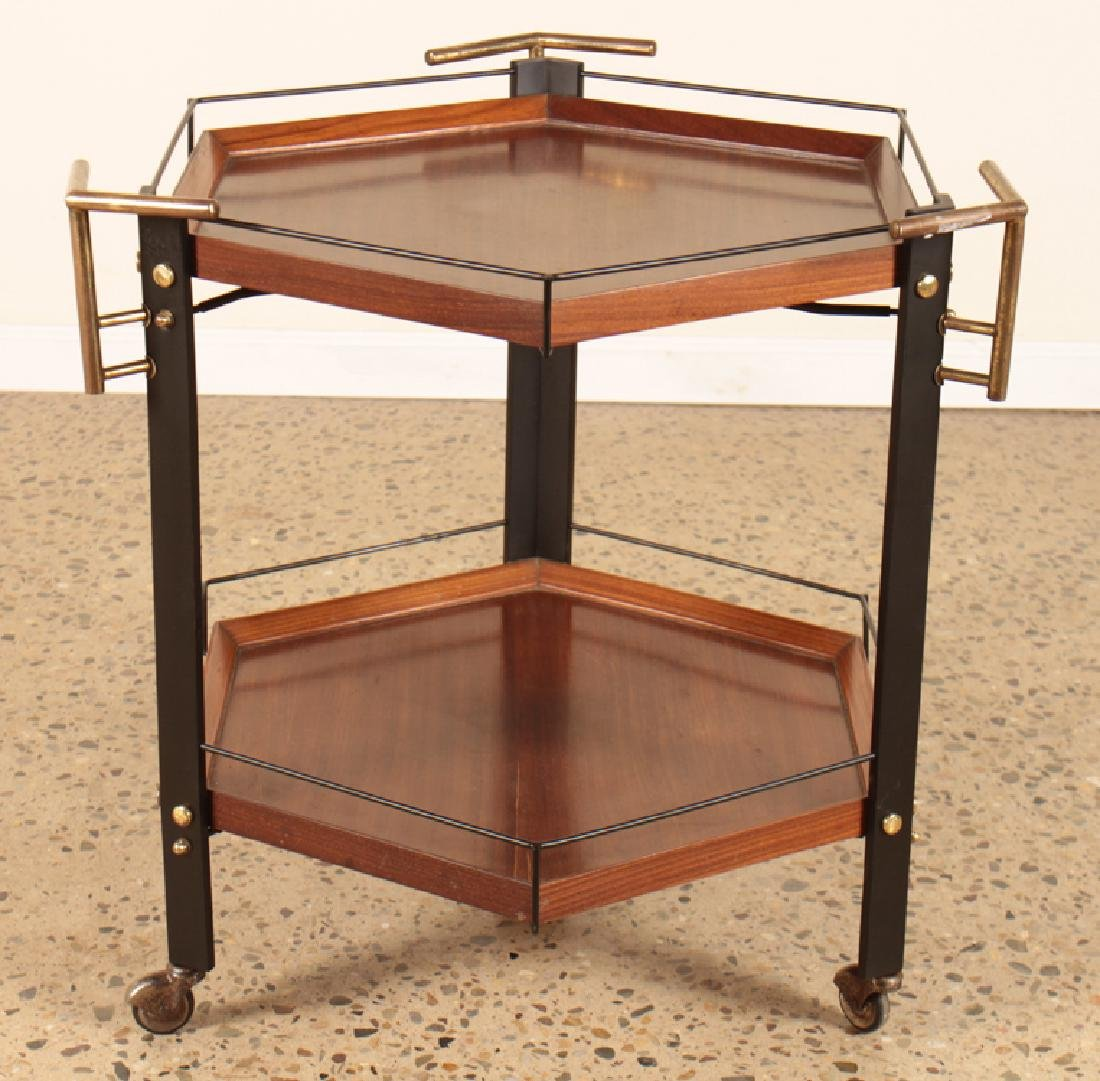MAHOGANY ITALIAN 6-SIDED BAR CART CIRCA 1960