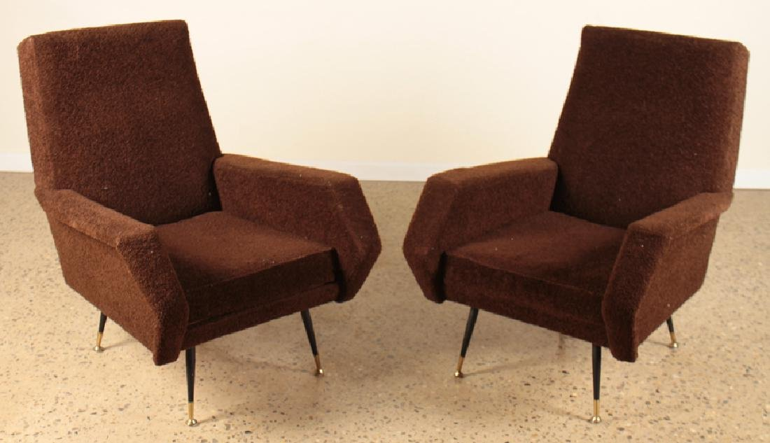 ITALIAN MID CENTURY MODERN UPHOLSTERED ARM CHAIRS