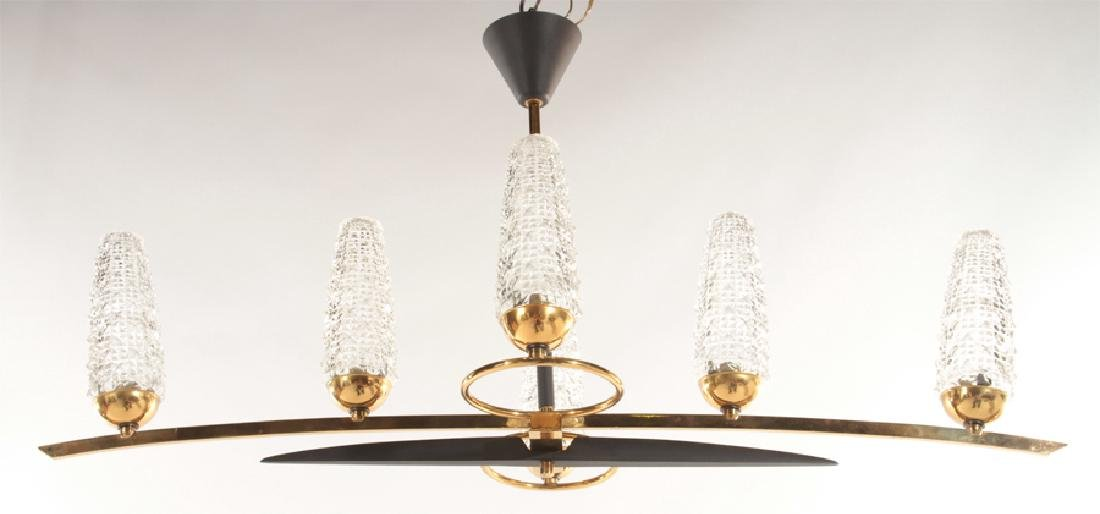 6 ARM FRENCH BRASS BLACK METAL CHANDELIER 1960