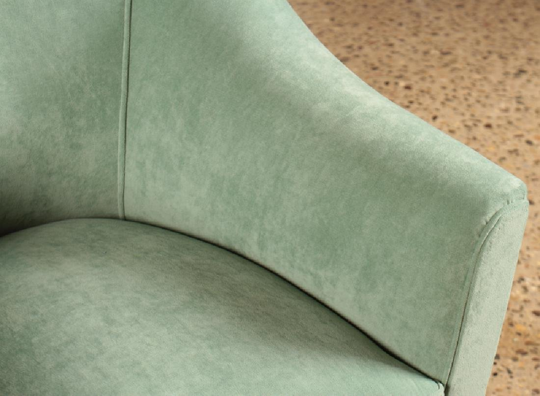 PAIR MID CENTURY MODERN UPHOLSTERED CLUB CHAIRS - 4