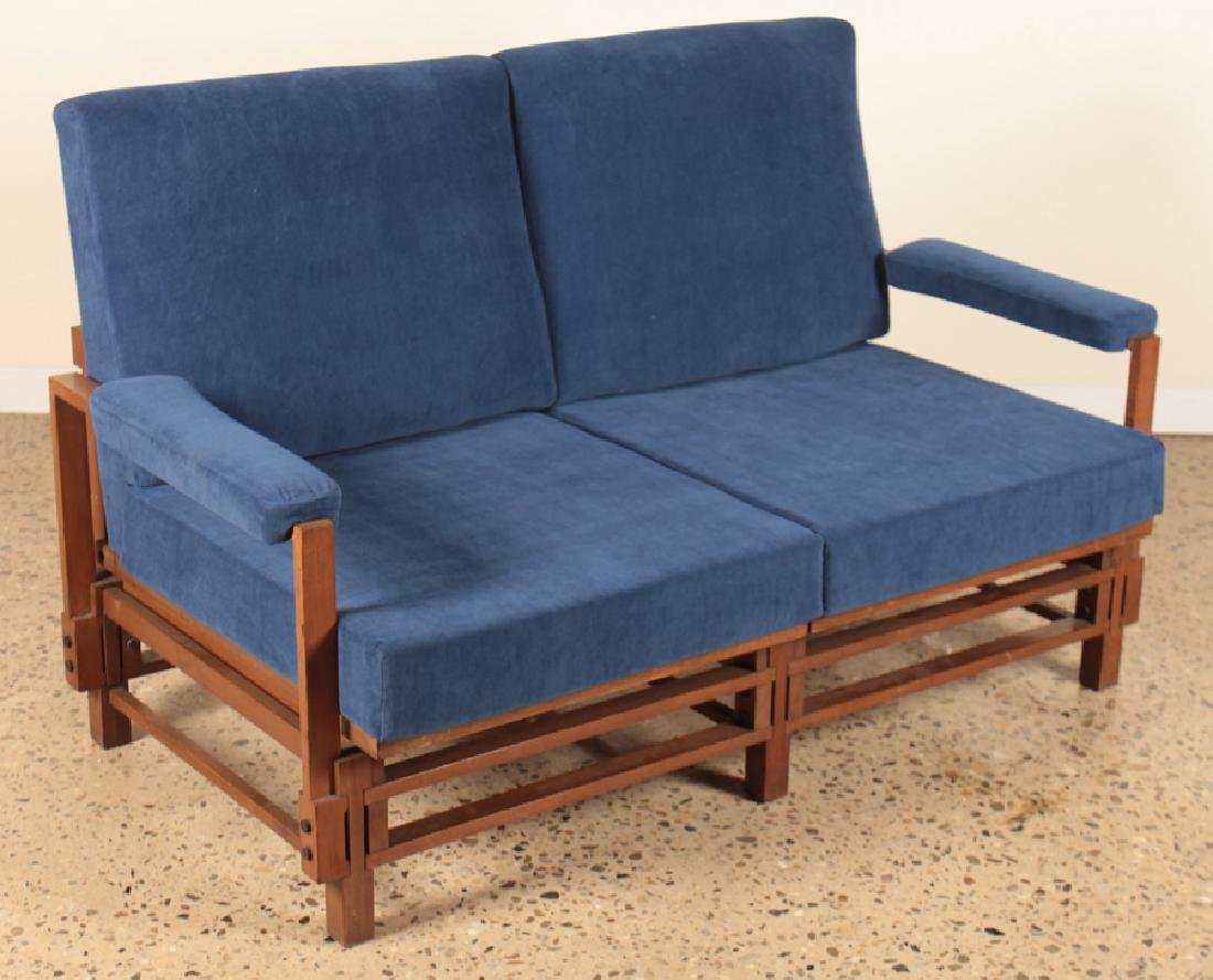 TWO SEAT ITALIAN OPEN ARM SETTEE CIRCA 1960