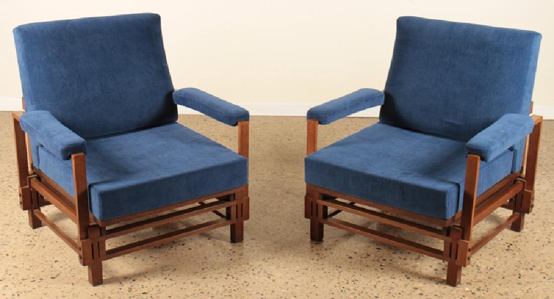 PAIR ITALIAN UPHOLSTERED CLUB CHAIRS CIRCA 1960