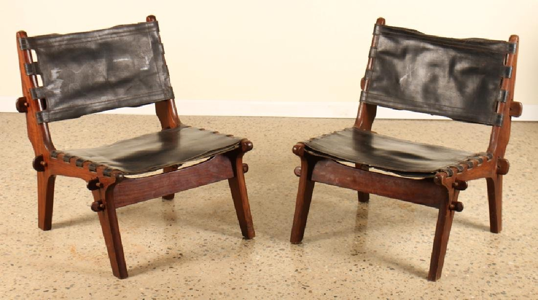PAIR ITALIAN MAHOGANY SIDE CHAIRS LEATHER