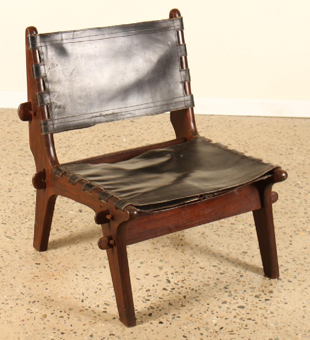 PAIR ITALIAN MAHOGANY SIDE CHAIRS LEATHER - 2