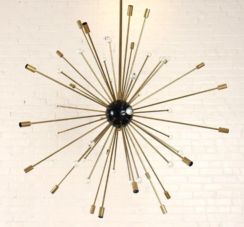 23 ARM BRONZE SPUTNIK CHANDELIER CIRCA 1960