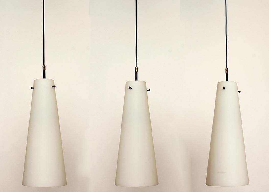 SET OF THREE ITALIAN LIGHTS W/ GLASS SHADES 1960