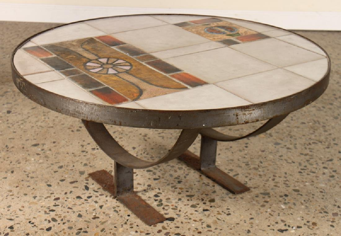 MID CENTURY MODERN ITALIAN TILE TOP COFFEE TABLE