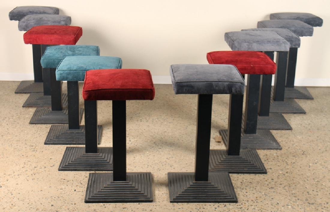 SET 12 ITALIAN IRON BAR STOOLS UPHOLSTERED SEAT