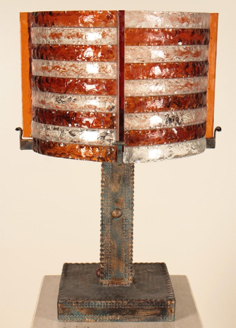 BRUTALIST STYLE IRON TABLE LAMP BY POLLARTE C1960