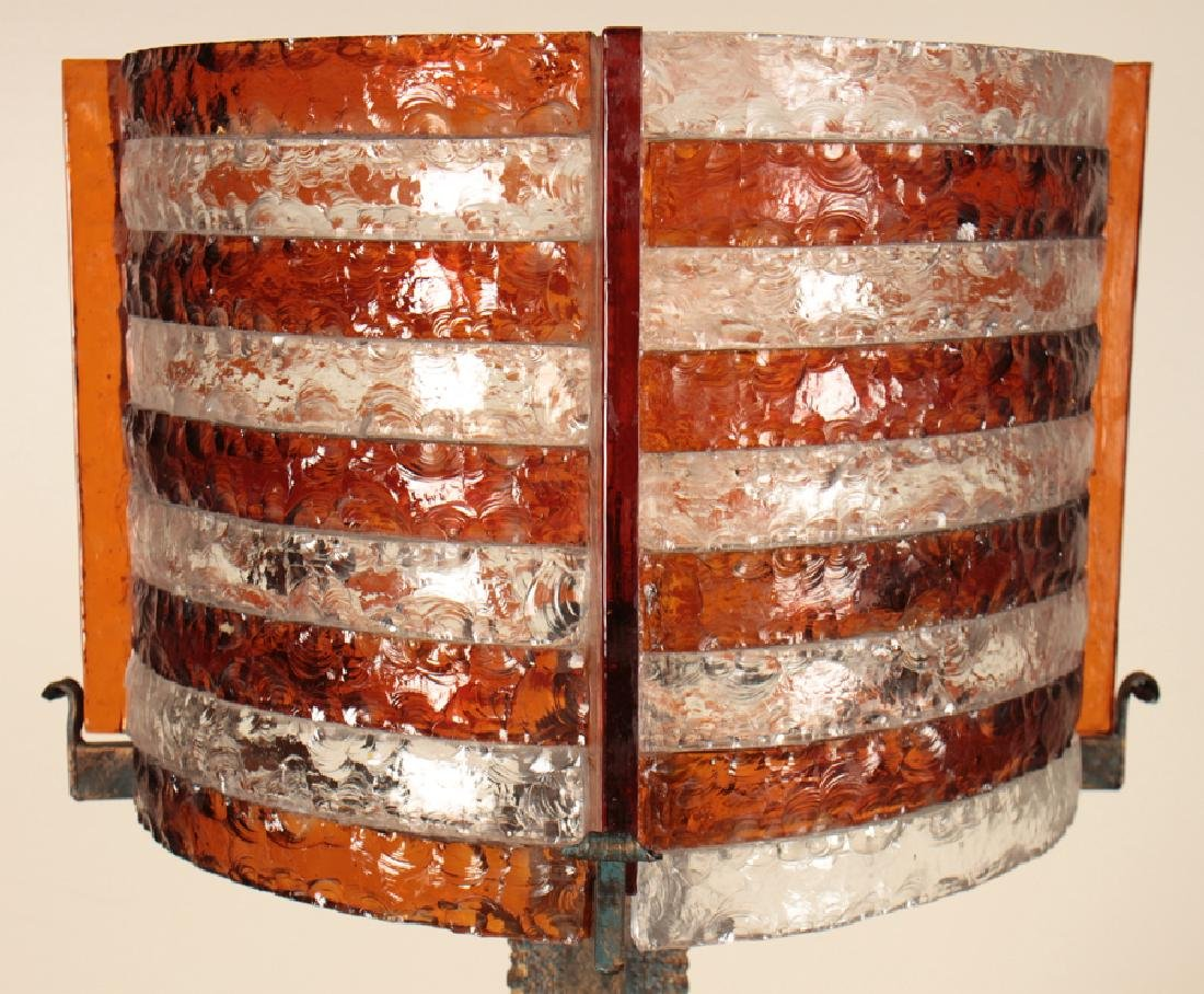 BRUTALIST STYLE IRON TABLE LAMP BY POLLARTE C1960 - 2