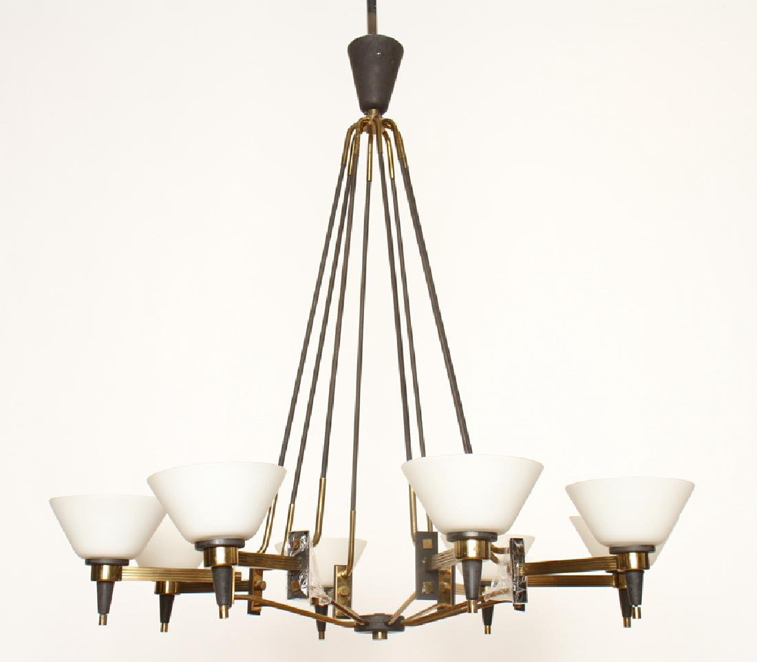 ITALIAN 8 ARM IRON CHANDELIER GLASS SHADES C.1960