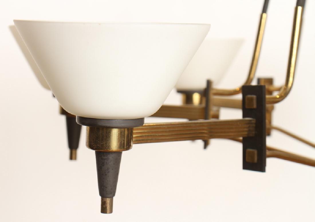 ITALIAN 8 ARM IRON CHANDELIER GLASS SHADES C.1960 - 3