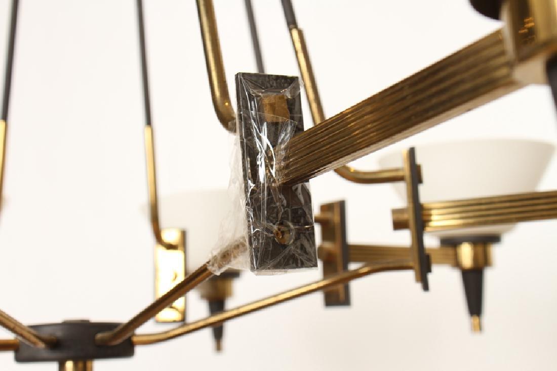 ITALIAN 8 ARM IRON CHANDELIER GLASS SHADES C.1960 - 5