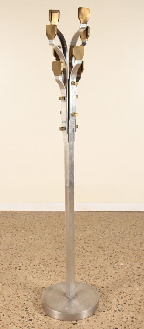 ITALIAN MODERN FORM STEEL COAT RACK BRASS ACCENTS