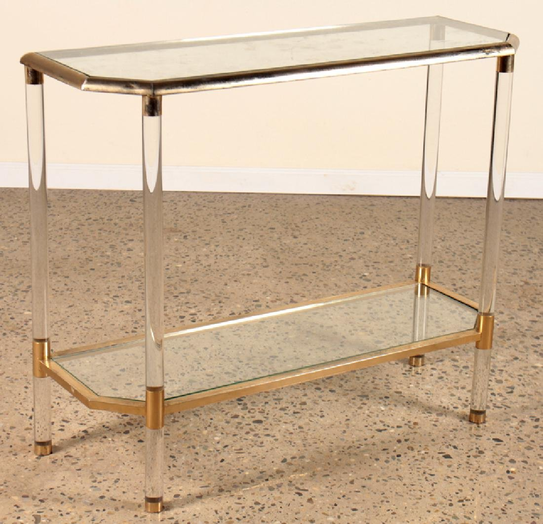 HOLLYWOOD REGENCY STYLE LUCITE BRASS CONSOLE