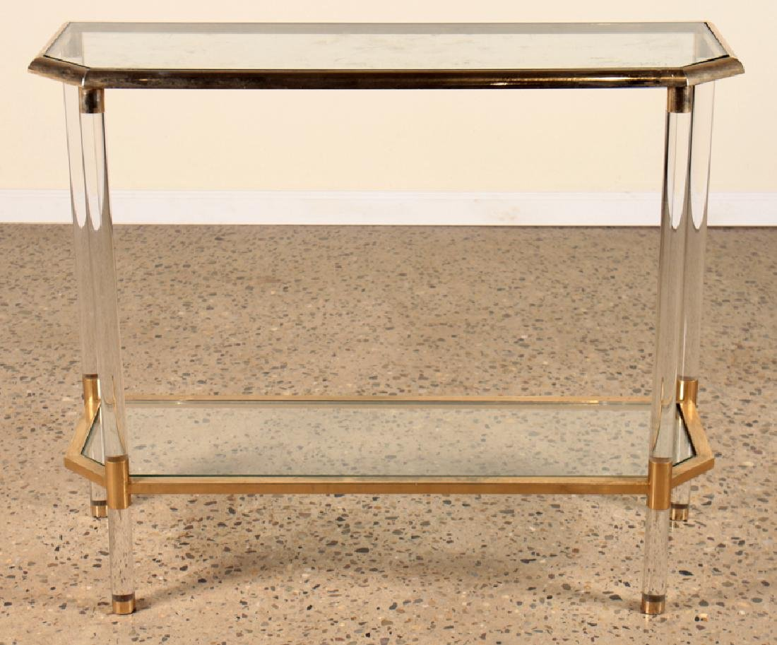 HOLLYWOOD REGENCY STYLE LUCITE BRASS CONSOLE - 2