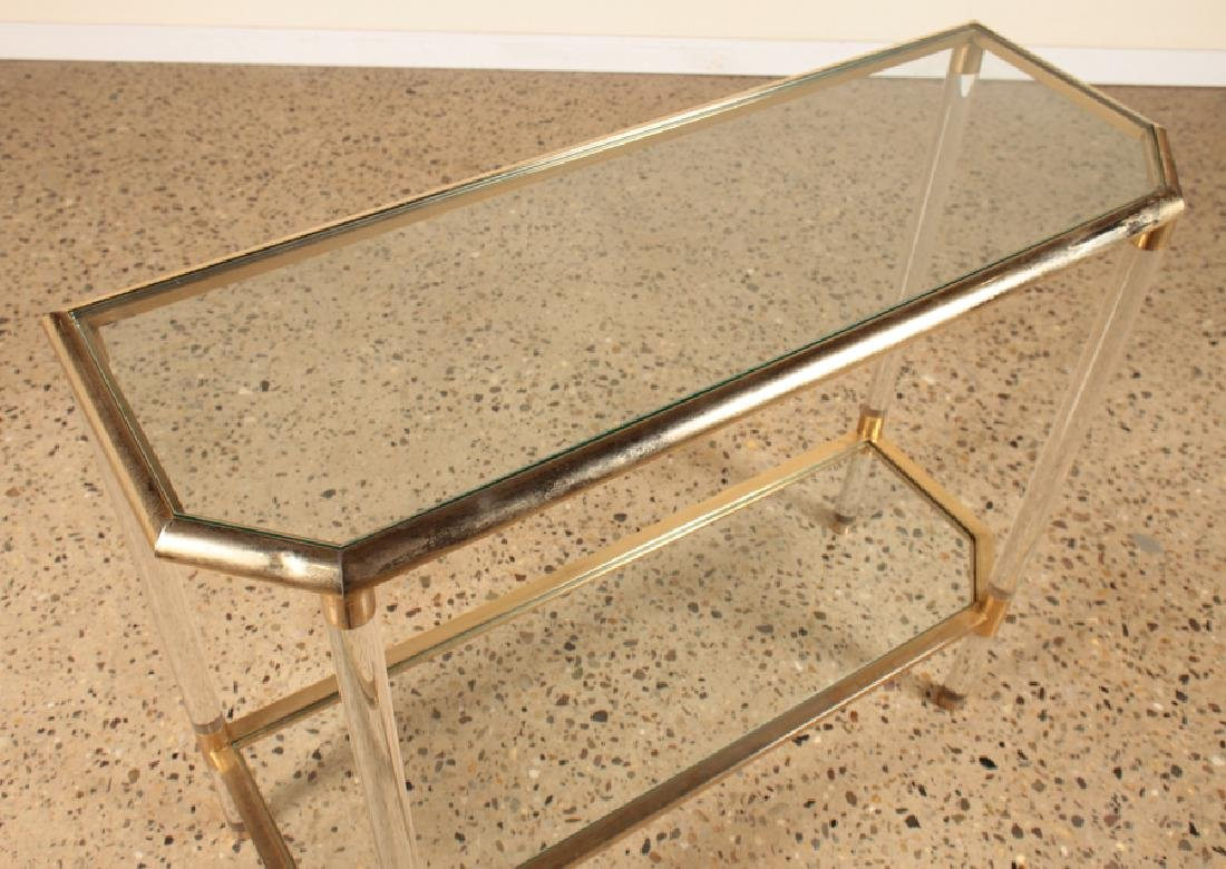 HOLLYWOOD REGENCY STYLE LUCITE BRASS CONSOLE - 3