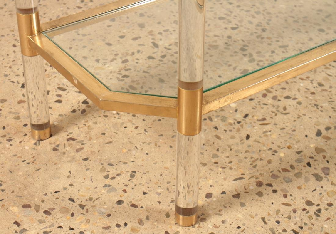 HOLLYWOOD REGENCY STYLE LUCITE BRASS CONSOLE - 5