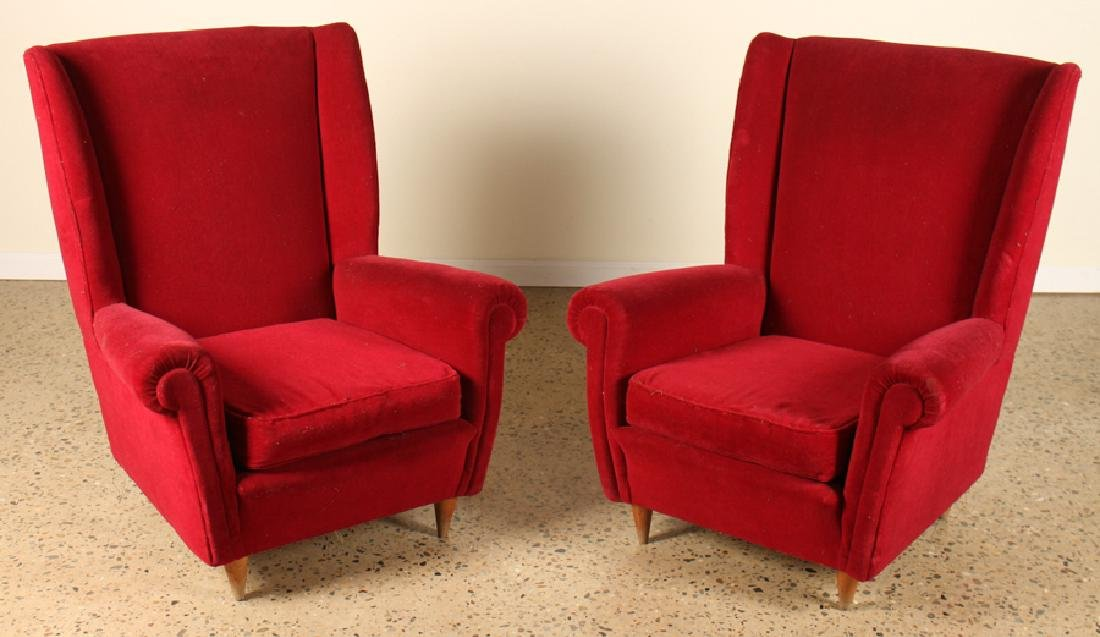 PAIR ITALIAN CLUB CHAIRS MANNER OF PAOLO BUFFA