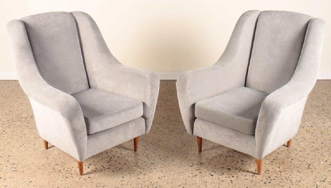 PAIR ITALIAN UPHOLSTERED CLUB CHAIRS
