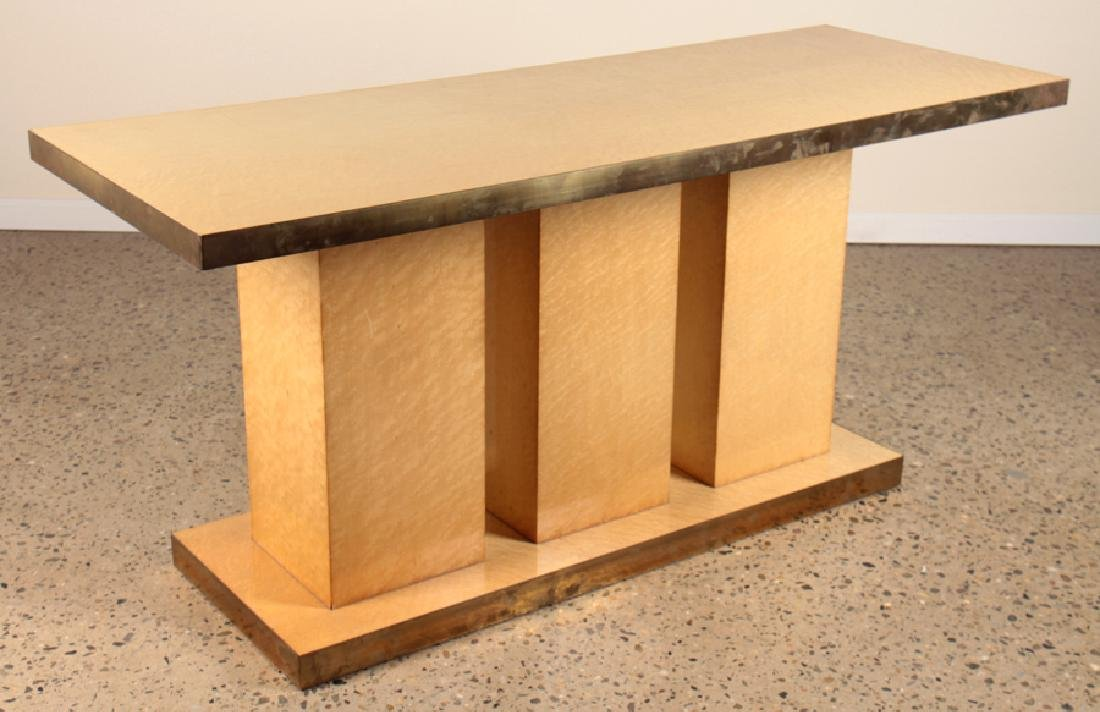 MAPLE ITALIAN ART DECO STYLE CONSOLE BRASS BANDED