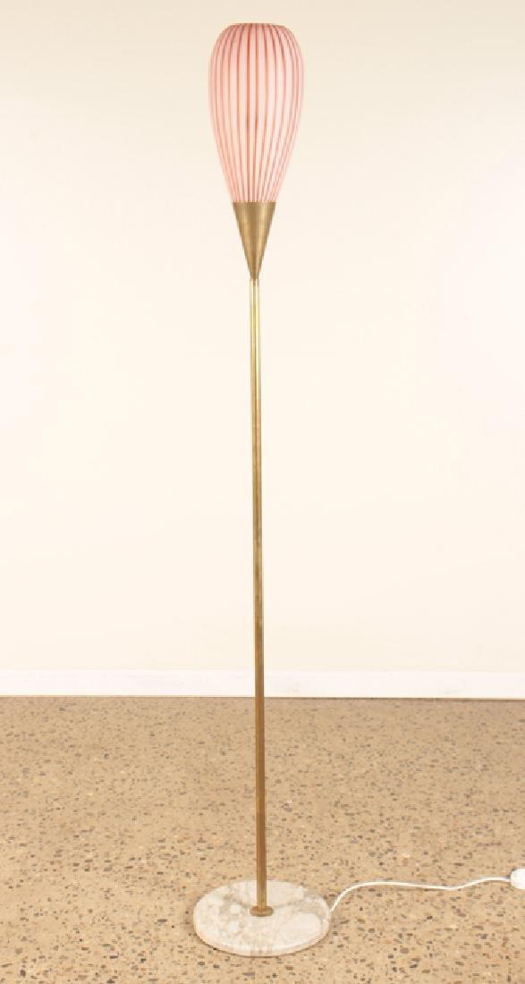 MID CENTURY MODERN ITALIAN GLASS BRASS FLOOR LAMP