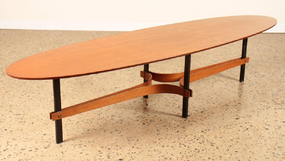 ITALIAN TEAK SURFBOARD TOP COFFEE TABLE C.1960