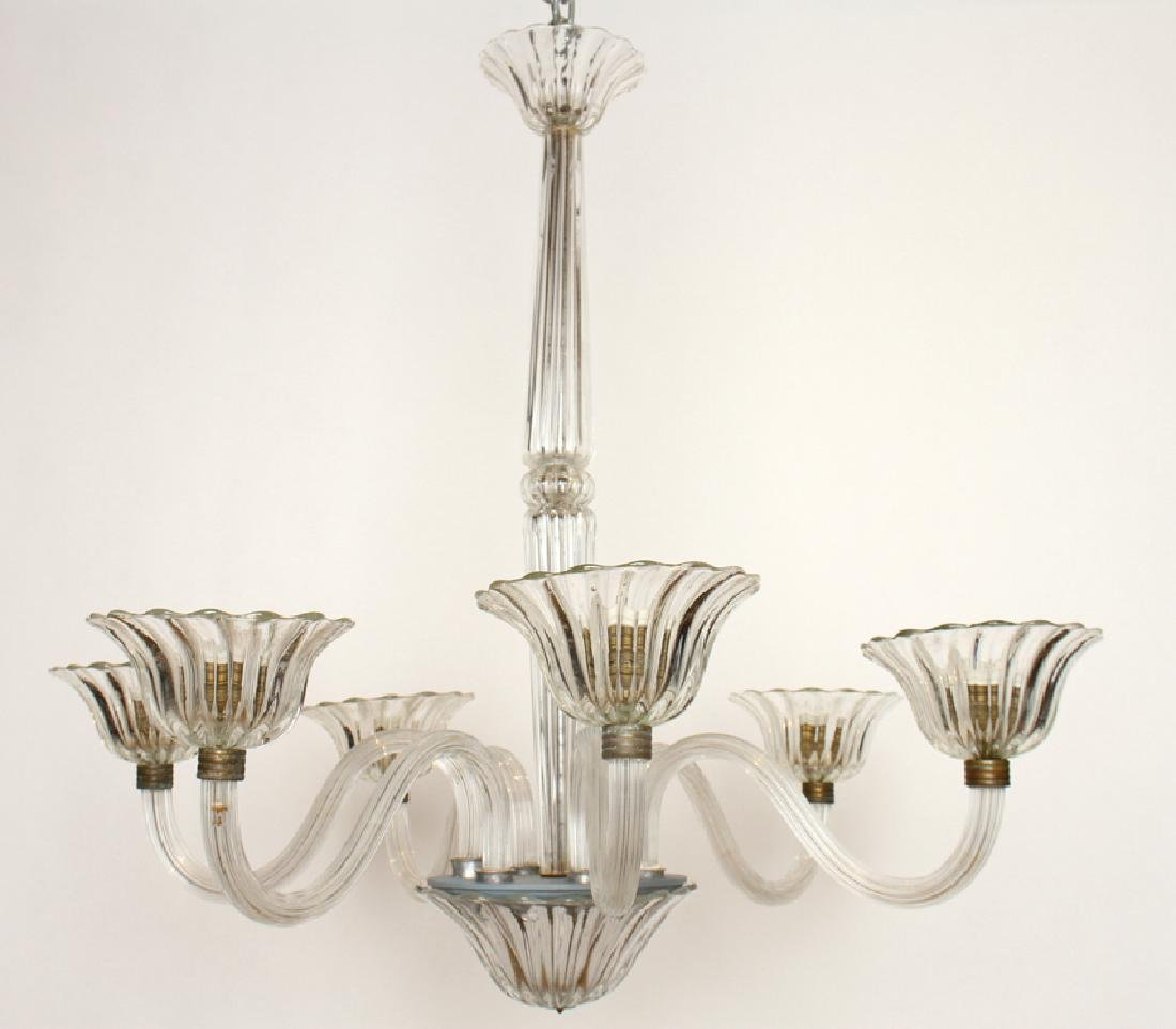 ITALIAN MURANO GLASS 6 ARM CHANDELIER 1960