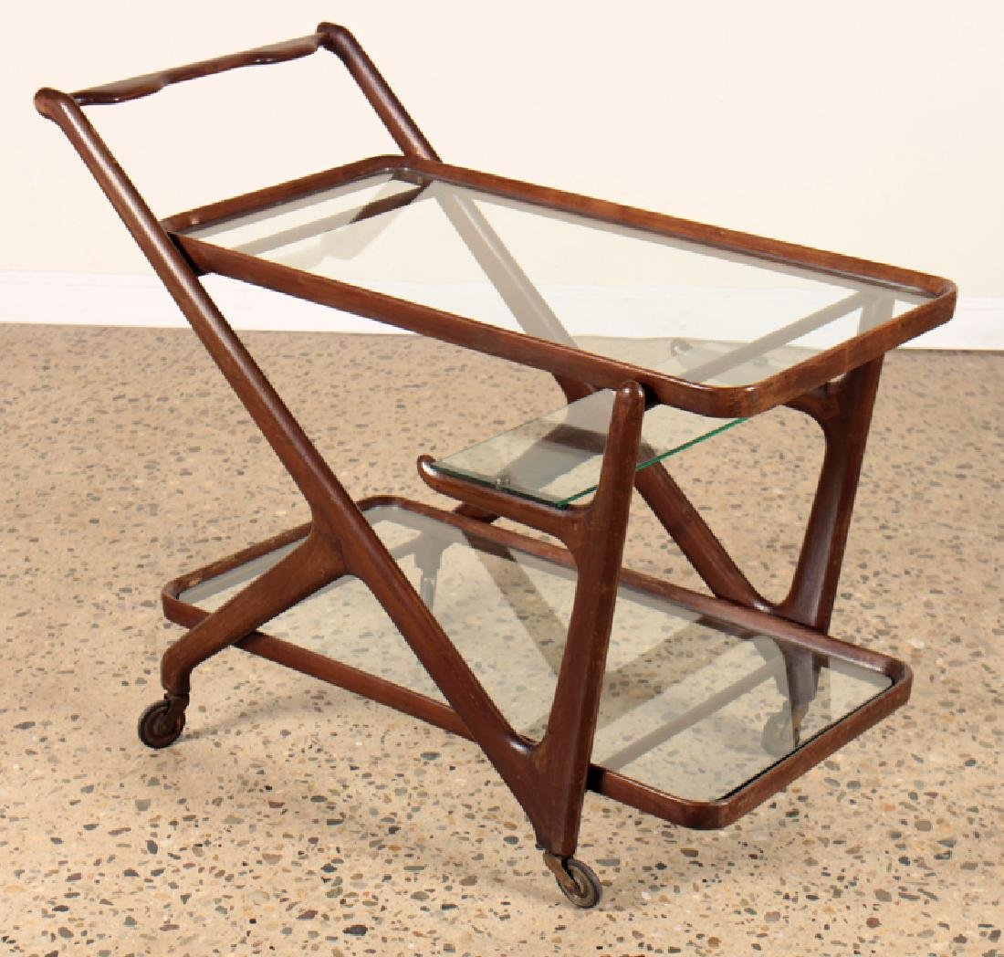 MID CENTURY MODERN MAHOGANY GLASS BAR CART