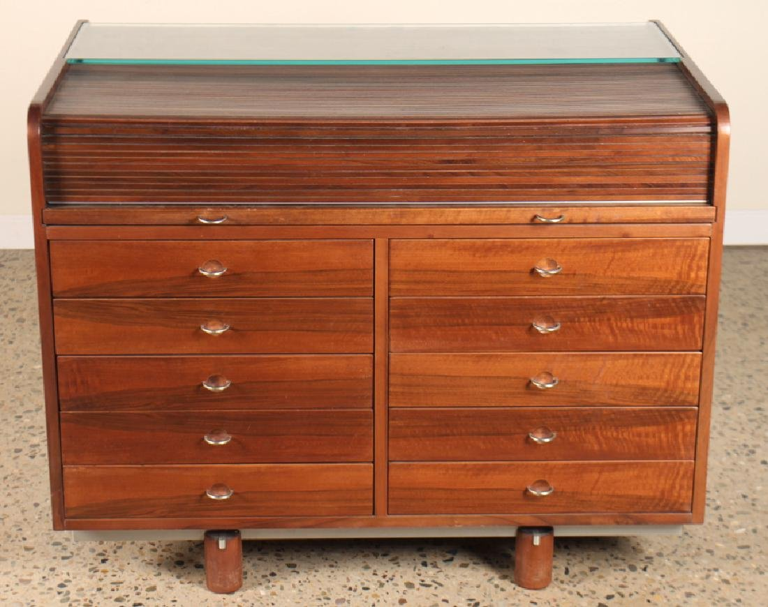 AN ITALIAN ROLL TOP 10 DRAWER OFFICE CABINET