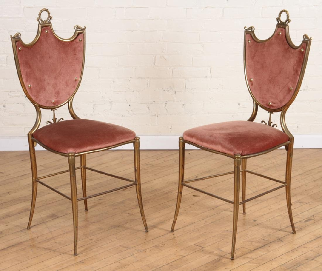 PAIR OF ITALIAN BRONZE SIDE CHAIRS CIRCA 1950