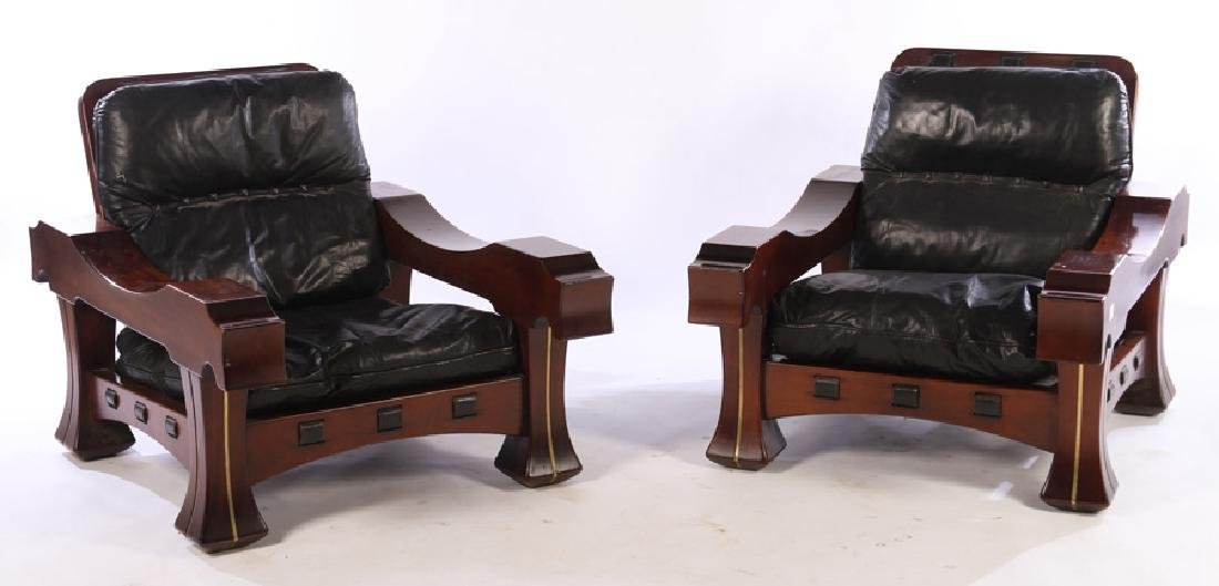 LARGE PAIR ITALIAN MAHOGANY CLUB CHAIRS 1960
