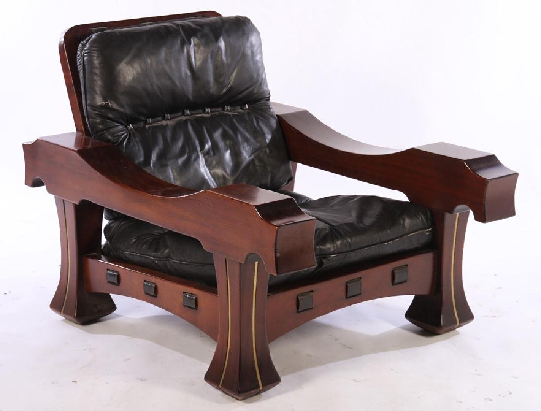 LARGE PAIR ITALIAN MAHOGANY CLUB CHAIRS 1960 - 2