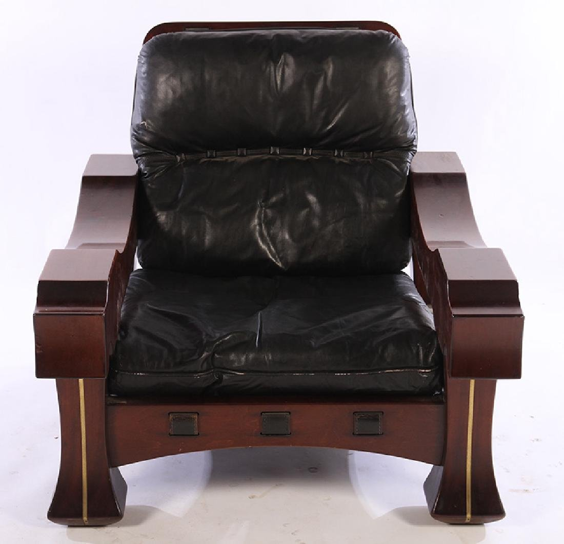 LARGE PAIR ITALIAN MAHOGANY CLUB CHAIRS 1960 - 3