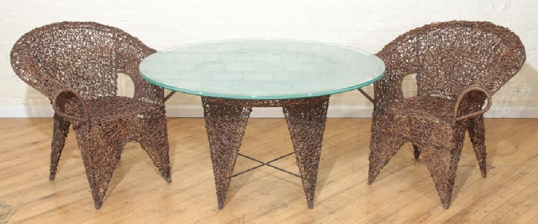 UNUSUAL ITALIAN GLASS TOP TABLE AND PAIR CHAIRS